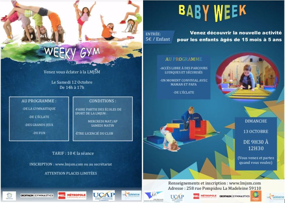 Inscriptions Weeky Gym du 12/10 et Baby Gym du 13/10